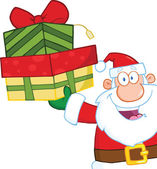 Smiling Santa Claus Holding Up A Stack Of Gifts isolated on white