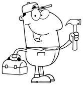 Outlined Construction Worker With Hammer Vector illustration