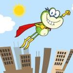 Frog Superhero Cartoon Character Flying Over The C...