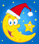 Moon With Santa Hat And Star