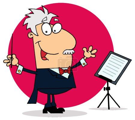 Illustration pour Personnage compositeur de musique de dessin animé - image libre de droit