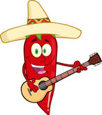 Chili Pepper Playing A Guitar