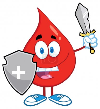 Blood Drop With Shield And Sword