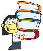 Smart Asian School Girl Carrying A Stack Of Books