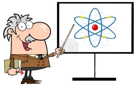 Happy Professor Discussing An Atom Diagram isolate...
