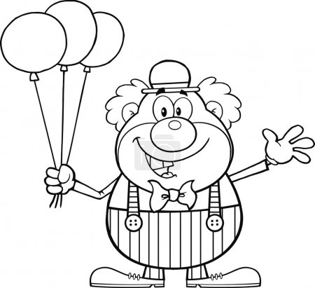 Clown Cartoon Character With Balloons