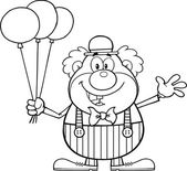 Black and White Funny Clown Cartoon Character With Balloons And Waving Vector Illustration Isolated on white