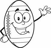 Black And White American Football Ball Cartoon Character Waving For Greeting