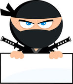 Angry Ninja Warrior Cartoon Character Over Blank SignFlat Design Vector Illustration Isolated on white