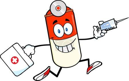 Pill Capsule Cartoon Character