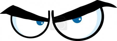 Illustration for Angry Cartoon Eyes. Vector Illustration Isolated on white - Royalty Free Image