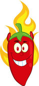 Red Chili Pepper Devil Cartoon Mascot Character On Fire