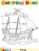 Black And White Pirate Ship Sailing Under Jolly Roger Flag Vector Illustration