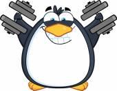 Tučňák trénink s činkami
