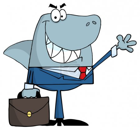 Smiled Business Shark Waving A Greeting...
