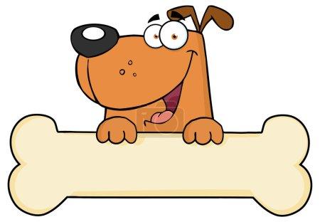 Illustration pour Bannière de chien de bande dessinée sur os - image libre de droit