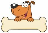 Cartoon Dog Over Bone