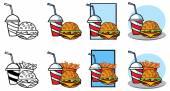 Cartoon burger soda french fries set