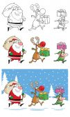 Santa Claus And Reindeer Cartoon Characters
