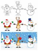 Cartoon Santa ClausReindeer And Snowman Characters
