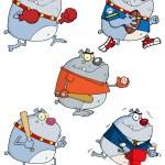 Cartoon bulldog character set...