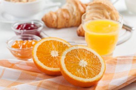 Breakfast with fresh orange juice