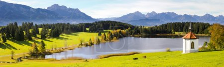Panorama landscape in Bavaria with beautiful lake