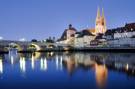 Panorama of old town Regensburg