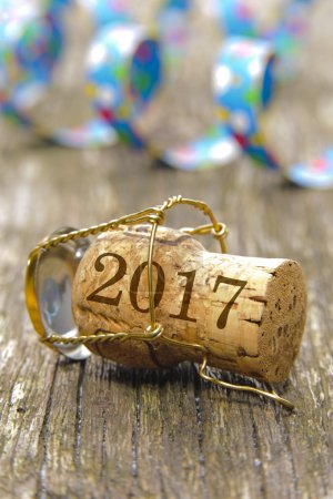 champagne cork as symbol for luck at new years 2017