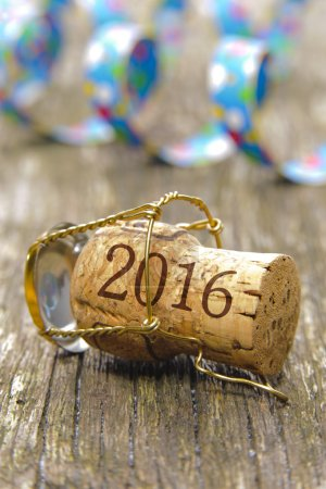 Photo for Happy new year 2016 with champagne cork at party - Royalty Free Image