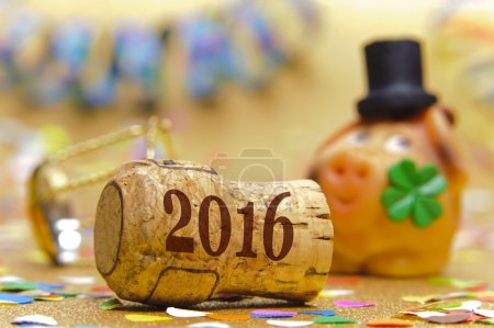 Photo for Happy new year 2016 with champagne cork and pig as lucky charm - Royalty Free Image