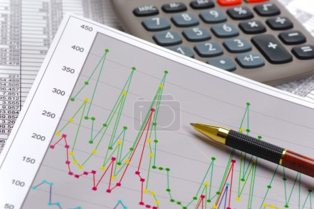 Photo for Chart and calculator show success at stock market - Royalty Free Image