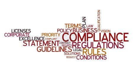 Photo pour Nuage de mot pour le respect, des règles et des règlements - image libre de droit