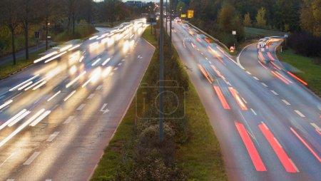 cars on german highway at night