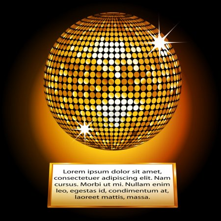 Photo for Golden Disco Ball on a Plaque with Sample Text - Royalty Free Image