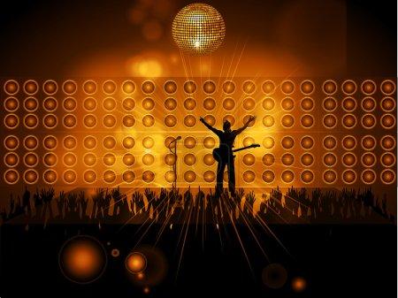 Photo pour Silhouette Rockstar avec guitare et microphone sur scène avec des haut-parleurs muraux - image libre de droit
