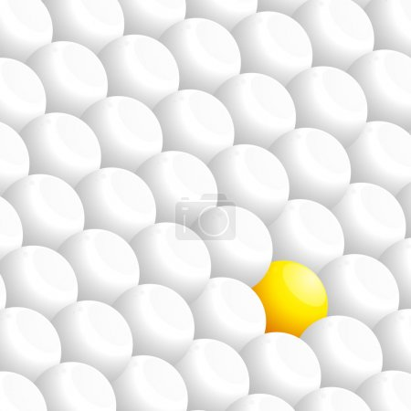 White 3D spheres and a yellow one