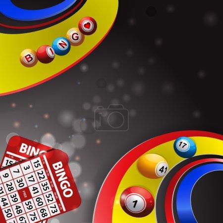 Bingo balls over multi coloured swirl and cards