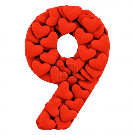 Photo for Number Nine, made from soft cushions in the shape of Hearts. High-quality rendering - Royalty Free Image