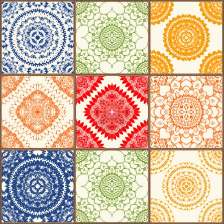 Illustration for Glazed ceramic tiles set. Colorful vintage tiles with floral and geometrical patterns, Spanish, Italian, Portuguese and oriental motifs. - Royalty Free Image