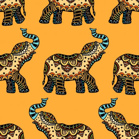 Illustration for Seamless Pattern with Hand Drawn Ethnic Elephant. Zenart Stylized - Royalty Free Image