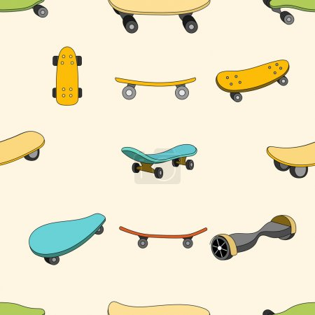 Seamless color pattern with skateboards.