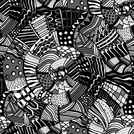 Seamless pattern with ethnic elements. Ornate zent...