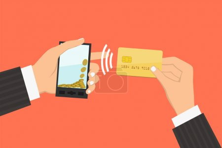 Illustration for Flat design style illustration. Smartphone with processing of mobile payments from credit card. Communication technology concept. Isolated on red background - Royalty Free Image