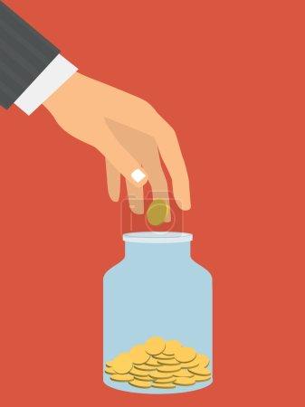 Illustration pour Illustration vectorielle de style design plat. La main d'un homme d'affaires lançant un pot en verre pièce d'or. Concept financier. Isolé sur fond rouge - image libre de droit