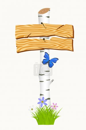 Wooden signboard with flowers and butterflies. Vector illustrati