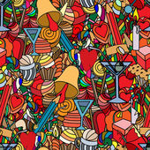 Background doodle seamless pattern Love and sweets