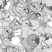Seamless pattern with set of fruits and vegetation Seamless texture Doodle cartoon drawing Vector illustration