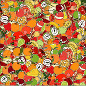 Seamless pattern with set of fruits and vegetation Seamless tex