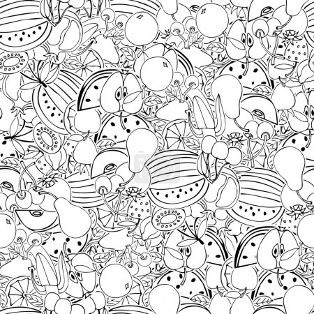 Seamless pattern with set of sweet fruits and berries
